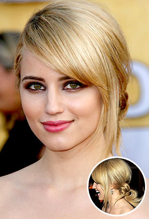 Dianna Agron's knotted twist with side-swept bangs
