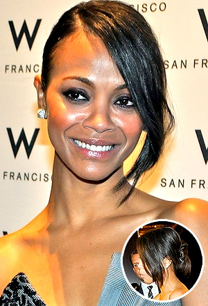 Zoe Saldana's updo with long, side-swept fringe